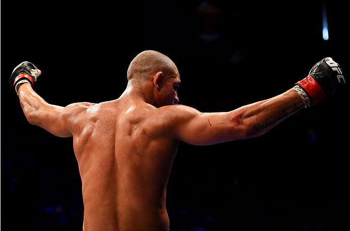 NEWARK, NJ - APRIL 18:  Diego Brandao celebrates defeating Jimy Hettes by TKO in their featherweight bout during the UFC Fight Night event at Prudential Center on April 18, 2015 in Newark, New Jersey.  (Photo by Josh Hedges/Zuffa LLC/Zuffa LLC via Getty Images)