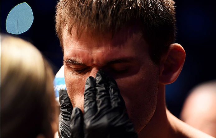 NEWARK, NJ - APRIL 18:  Tim Means prepares for his welterweight bout against George Sullivan during the UFC Fight Night event at Prudential Center on April 18, 2015 in Newark, New Jersey.  (Photo by Josh Hedges/Zuffa LLC/Zuffa LLC via Getty Images)
