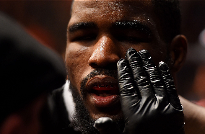 NEWARK, NJ - APRIL 18:  Corey Anderson prepares for his light heavyweight bout against Gian Villante during the UFC Fight Night event at Prudential Center on April 18, 2015 in Newark, New Jersey.  (Photo by Josh Hedges/Zuffa LLC/Zuffa LLC via Getty Images)