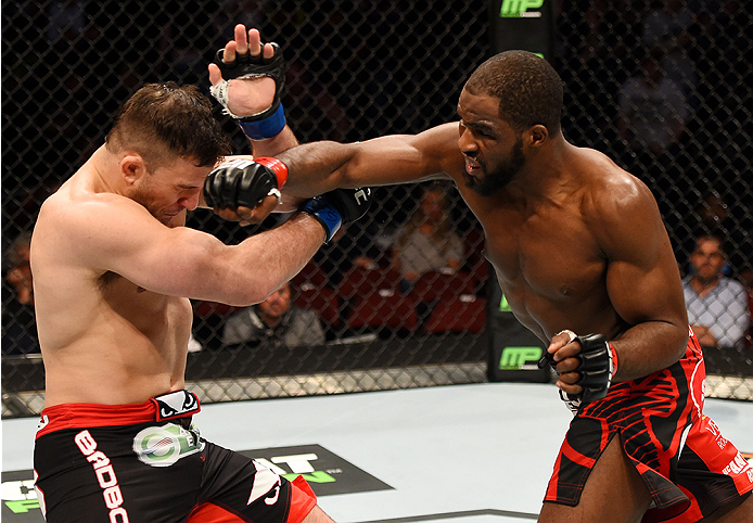 Corey Anderson punches Gian Villante in their light heavyweight bout during the UFC Fight Night event at Prudential Center on April 18, 2015 in Newark, NJ. (Photo by Josh Hedges/Zuffa LLC)