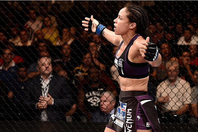 Marion Reneau celebrates after defeating Jessica Andrade in their bout at UFC Fight Night on February 22, 2015 in Brazil. (Photo by Buda Mendes/Zuffa LLC)