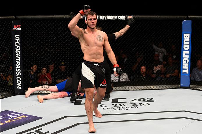 ATLANTA, GA - JULY 30: (R-L) Nikita Krylov celebrates his knockout victory over Ed Herman in their light heavyweight bout during the UFC 201 event on July 30, 2016 at Philips Arena in Atlanta, Georgia. (Photo by Jeff Bottari/Zuffa LLC/Zuffa LLC via Getty Images)