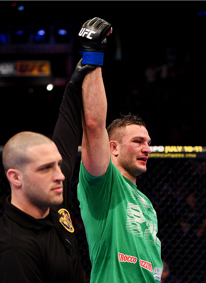 NEWARK, NJ - APRIL 18:  Gian Villante is declared winner over Corey Anderson in their light heavyweight bout during the UFC Fight Night event at Prudential Center on April 18, 2015 in Newark, New Jersey.  (Photo by Josh Hedges/Zuffa LLC/Zuffa LLC via Getty Images)