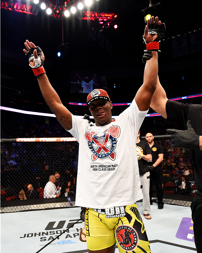 NEWARK, NJ - APRIL 18:  Ovince Saint Preux celebrates defeating Patrick Cummins by KO in their light heavyweight bout during the UFC Fight Night event at Prudential Center on April 18, 2015 in Newark, New Jersey.  (Photo by Josh Hedges/Zuffa LLC/Zuffa LLC via Getty Images)