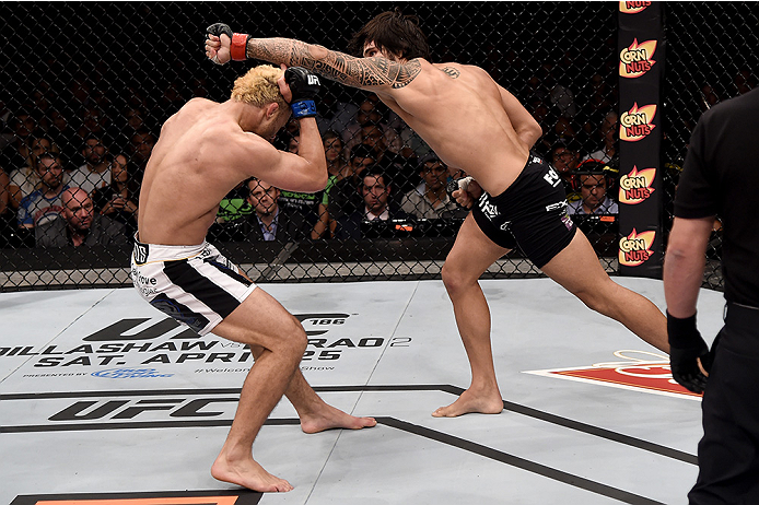 Erick Silva punches Josh Koscheck in their welterweight bout during the UFC Fight Night on March 21, 2015 in Rio de Janeiro, Brazil. (Photo by Buda Mendes/Zuffa LLC)