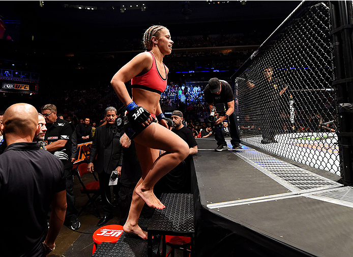 NEWARK, NJ - APRIL 18:  Paige VanZant prepares for her women's strawweight bout against Felice Herrig during the UFC Fight Night event at Prudential Center on April 18, 2015 in Newark, New Jersey.  (Photo by Josh Hedges/Zuffa LLC/Zuffa LLC via Getty Images)