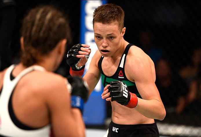 ATLANTA, GA - JULY 30: (R-L) Rose Namajunas circles Karolina Kowalkiewicz in their women's strawweight bout during the UFC 201 event on July 30, 2016 at Philips Arena in Atlanta, Georgia. (Photo by Jeff Bottari/Zuffa LLC/Zuffa LLC via Getty Images)