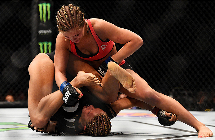 Felice Herrig & Paige VanZant grapple in their bout during UFC Fight Night on 4/18/15 in Newark, NJ. (Photo by Jeff Bottari/Zuffa LLC)