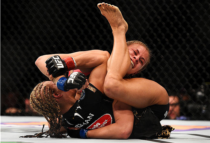NEWARK, NJ - APRIL 18:  Felice Herrig and Paige VanZant grapple in their women's strawweight bout during the UFC Fight Night event at Prudential Center on April 18, 2015 in Newark, New Jersey.  (Photo by Jeff Bottari/Zuffa LLC/Zuffa LLC via Getty Images)