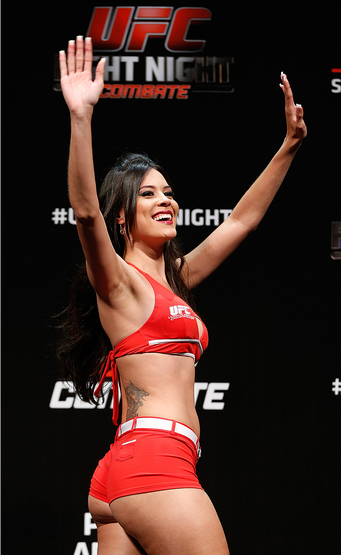 BRASILIA, BRAZIL - SEPTEMBER 12:  UFC Octagon Girl Camila Rodrigues de Oliveira stands on stage during the UFC Fight Night weigh-in at the Nilson Nelson Gymnasium on September 12, 2014 in Brasilia, Brazil. (Photo by Josh Hedges/Zuffa LLC/Zuffa LLC via Getty Images)
