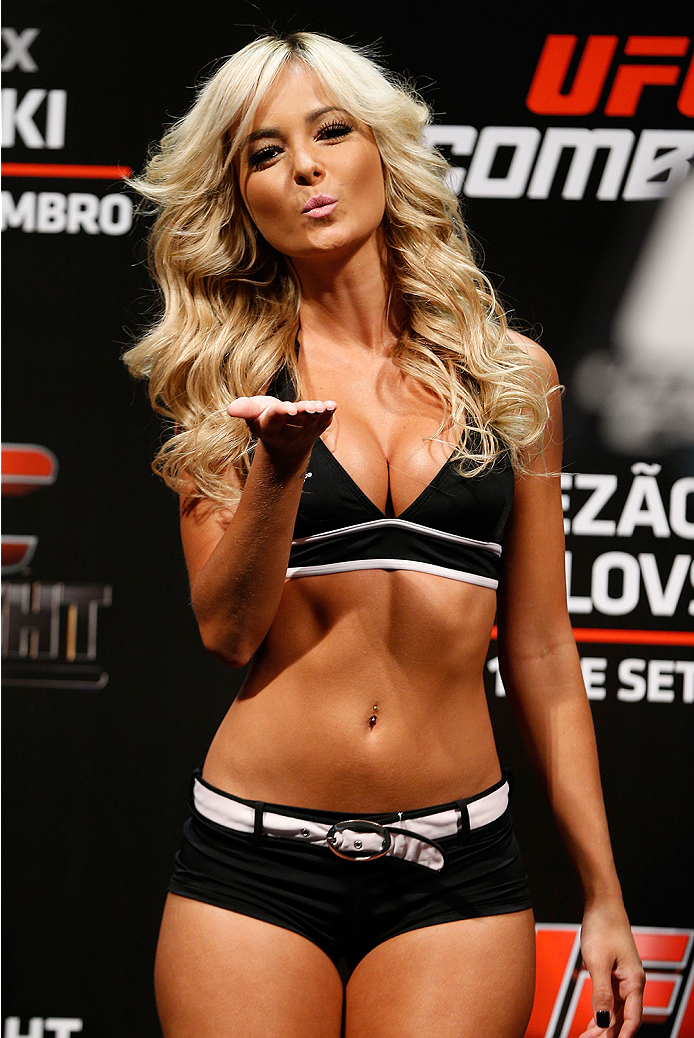 BRASILIA, BRAZIL - SEPTEMBER 12:  UFC Octagon Girl Jhenny Andrade stands on stage during the UFC Fight Night weigh-in at the Nilson Nelson Gymnasium on September 12, 2014 in Brasilia, Brazil. (Photo by Josh Hedges/Zuffa LLC/Zuffa LLC via Getty Images)