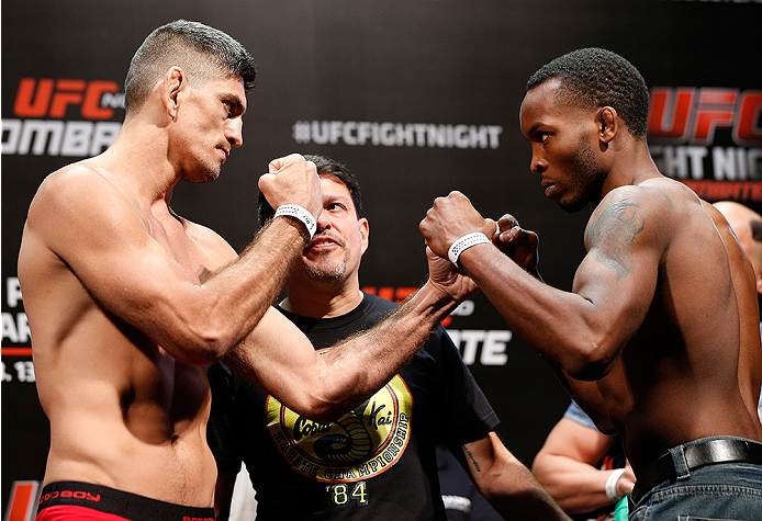 BRASILIA, BRAZIL - SEPTEMBER 12:  (L-R) Opponents Paulo Thiago of Brazil and Sean Spencer face off during the UFC Fight Night weigh-in at the Nilson Nelson Gymnasium on September 12, 2014 in Brasilia, Brazil. (Photo by Josh Hedges/Zuffa LLC/Zuffa LLC via Getty Images)
