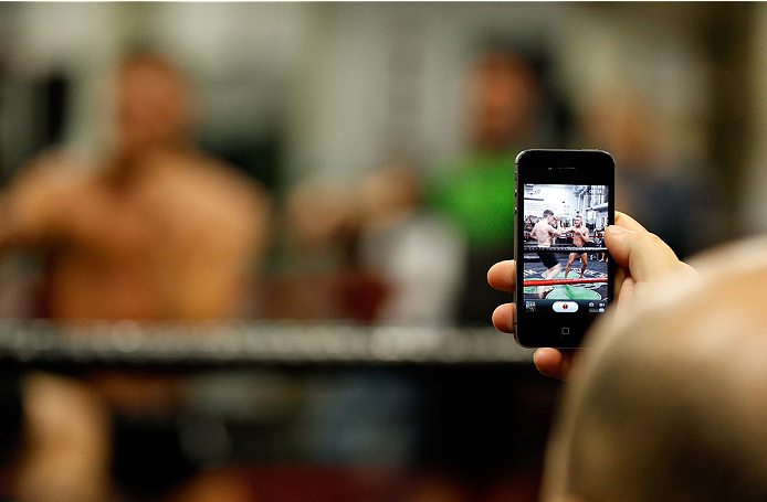 BOSTON, MA - AUGUST 13:  Irish featherweight Conor McGregor holds an open training session for media at Peter Welch's Boxing Gym on August 13, 2013 in Boston, Massachusetts. (Photo by Josh Hedges/Zuffa LLC/Zuffa LLC via Getty Images)