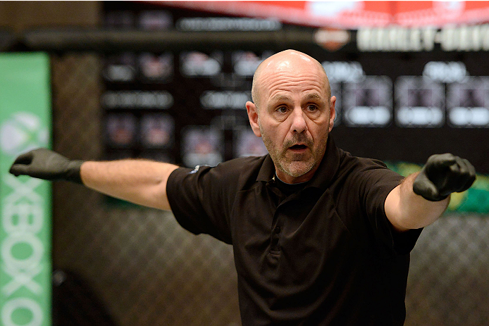 LACHUTE, CANADA - DECEMBER 6:  Referee Yves Lavigne signals the start of the fight between Team Canada fighter Kajan Johnson and Team Canada fighter Chad Laprise in their semifinal middleweight fight during filming of The Ultimate Fighter Nations television series on December 6, 2013 in Lachute, Quebec, Canada. (Photo by Richard Wolowicz/Zuffa LLC/Zuffa LLC via Getty Images) *** Local Caption *** Yves Lavigne