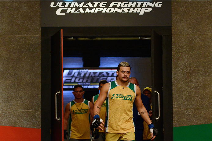 LACHUTE, CANADA - DECEMBER 6:  Team Australia fighter Tyler Manawaroa enters the arena before facing Team Canada fighter Elias Theodorou in their semifinal middleweight fight during filming of The Ultimate Fighter Nations television series on December 6, 2013 in Lachute, Quebec, Canada. (Photo by Richard Wolowicz/Zuffa LLC/Zuffa LLC via Getty Images) *** Local Caption *** Tyler Manawaroa