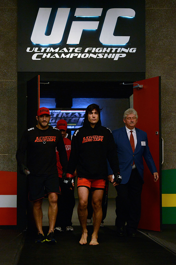 LACHUTE, CANADA - DECEMBER 6:  Team Canada fighter Elias Theodorou enters the arena before facing Team Australia fighter Tyler Manawaroa in their semifinal middleweight fight during filming of The Ultimate Fighter Nations television series on December 6, 2013 in Lachute, Quebec, Canada. (Photo by Richard Wolowicz/Zuffa LLC/Zuffa LLC via Getty Images) *** Local Caption *** Elias Theodorou