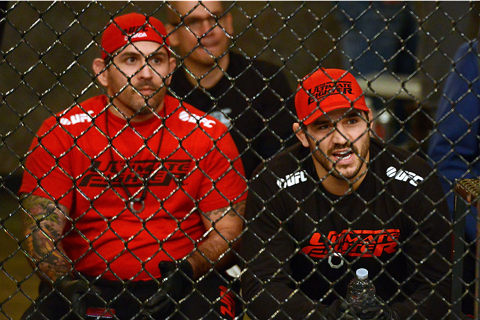 LACHUTE, CANADA - DECEMBER 6:  Team Canada Coach Patrick Cote yells at his fighter Elias Theodorou before he takes on Team Australia fighter Tyler Manawaroa in their semifinal middleweight fight during filming of The Ultimate Fighter Nations television series on December 6, 2013 in Lachute, Quebec, Canada. (Photo by Richard Wolowicz/Zuffa LLC/Zuffa LLC via Getty Images) *** Local Caption *** Patrick Cote