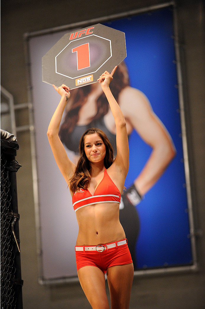 LAS VEGAS, NV - JUNE 10:  UFC Octagon Girl Vanessa Hanson introduces a round during the Chris Holdsworth v Chris Beal preliminary fight during filming of season eighteen of The Ultimate Fighter on June 10, 2013 in Las Vegas, Nevada. (Photo by Al Powers/Zuffa LLC/Zuffa LLC via Getty Images) *** Local Caption ***Vanessa Hanson