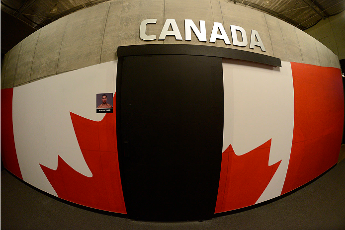 LACHUTE, CANADA - NOVEMBER 11:  A general view of the Team Canada flag wall prior to Team Australia fighter Tyler Manawaroa facing Team Canada fighter Nordine Taleb in their middleweight fight during filming of The Ultimate Fighter Nations television series on November 11, 2013 in Lachute, Quebec, Canada. (Photo by Richard Wolowicz/Zuffa LLC/Zuffa LLC via Getty Images) *** Local Caption ***
