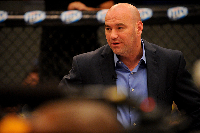 LAS VEGAS, NV - JUNE 12:  UFC President Dana White introduces the bout between Jessica Rakoczy and Roxanne Modafferi (not pictured) in their preliminary fight during filming of season eighteen of The Ultimate Fighter on June 12, 2013 in Las Vegas, Nevada. (Photo by Al Powers/Zuffa LLC/Zuffa LLC via Getty Images) *** Local Caption *** Dana White