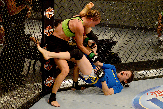 LAS VEGAS, NV - JUNE 12:  (L-R) Jessica Rakoczy takes down Roxanne Modafferi in their preliminary fight during filming of season eighteen of The Ultimate Fighter on June 12, 2013 in Las Vegas, Nevada. (Photo by Al Powers/Zuffa LLC/Zuffa LLC via Getty Images) *** Local Caption *** Jessica Rakoczy; Roxanne Modafferi