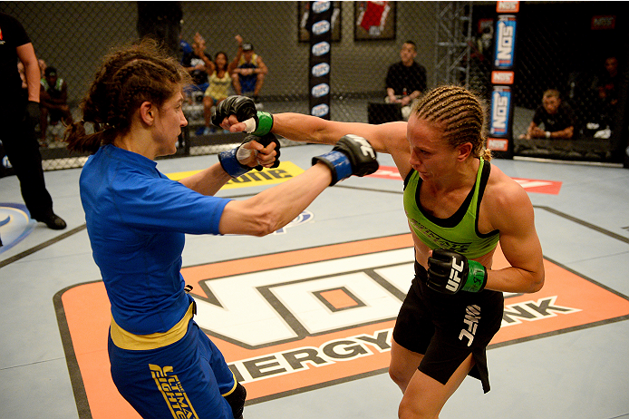 LAS VEGAS, NV - JUNE 12:  (R-L) Jessica Rakoczy punches Roxanne Modafferi in their preliminary fight during filming of season eighteen of The Ultimate Fighter on June 12, 2013 in Las Vegas, Nevada. (Photo by Al Powers/Zuffa LLC/Zuffa LLC via Getty Images) *** Local Caption *** Jessica Rakoczy; Roxanne Modafferi