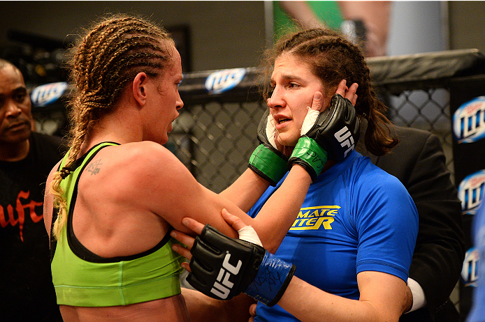 LAS VEGAS, NV - JUNE 12:  (L-R) Jessica Rakoczy consoles Roxanne Modafferi after their preliminary fight during filming of season eighteen of The Ultimate Fighter on June 12, 2013 in Las Vegas, Nevada. Jessica Rakoczy defeated Roxanne Modafferi. (Photo by Al Powers/Zuffa LLC/Zuffa LLC via Getty Images) *** Local Caption *** Roxanne Modafferi; Jessica Rakoczy