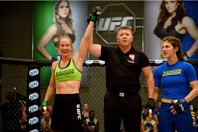 LAS VEGAS, NV - JUNE 12:  (L-R) Jessica Rakoczy celebrates after defeating Roxanne Modafferi after their preliminary fight during filming of season eighteen of The Ultimate Fighter on June 12, 2013 in Las Vegas, Nevada. Jessica Rakoczy defeated Roxanne Modafferi. (Photo by Al Powers/Zuffa LLC/Zuffa LLC via Getty Images) *** Local Caption *** Roxanne Modafferi; Jessica Rakoczy