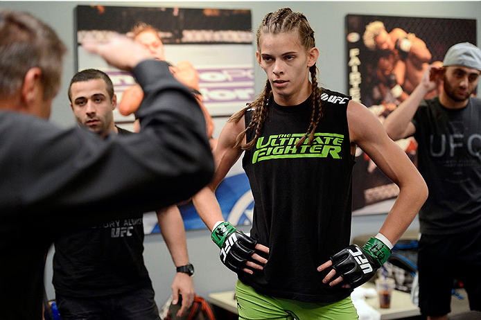 LAS VEGAS, NV - JUNE 17:  Jessamyn Duke listens to pre-fight instructions from a referee before her preliminary fight against Raquel Pennington (not pictured) during filming of season eighteen of The Ultimate Fighter on June 17, 2013 in Las Vegas, Nevada. (Photo by Jeff Bottari/Zuffa LLC/Zuffa LLC via Getty Images) *** Local Caption *** Jessamyn Duke