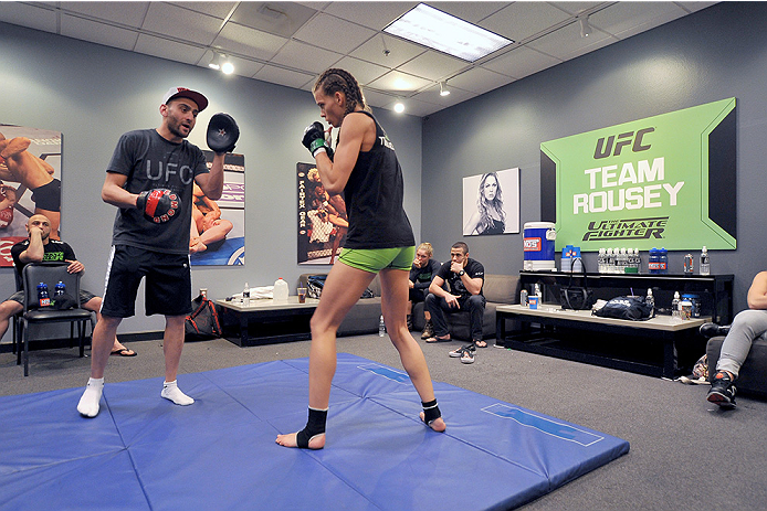 LAS VEGAS, NV - JUNE 17:  (L-R) Team Rousey trainer Edmond Tarverdyan trains with Jessamyn Duke before her preliminary fight against Raquel Pennington (not pictured) during filming of season eighteen of The Ultimate Fighter on June 17, 2013 in Las Vegas, Nevada. (Photo by Jeff Bottari/Zuffa LLC/Zuffa LLC via Getty Images) *** Local Caption *** Jessamyn Duke; Edmond Tarverdyan