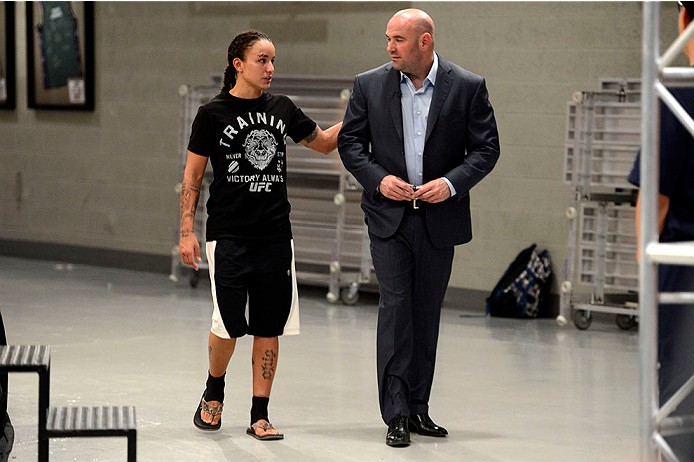 LAS VEGAS, NV - JUNE 17:  (L-R) Raquel Pennington speaks with UFC President Dana White after defeating Jessamyn Duke (not pictured) after their preliminary fight during filming of season eighteen of The Ultimate Fighter on June 17, 2013 in Las Vegas, Nevada. (Photo by Jeff Bottari/Zuffa LLC/Zuffa LLC via Getty Images) *** Local Caption *** Raquel Pennington; Dana White