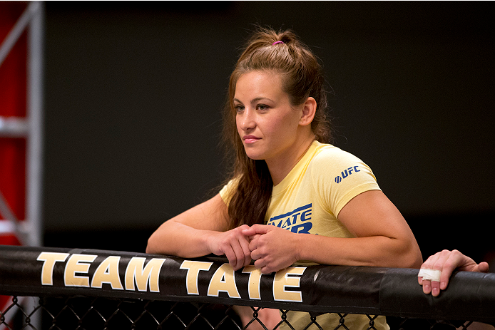 LAS VEGAS, NV - JUNE 21:  Coach Miesha Tate stands in the corner of Sarah Moras (not pictured) before her preliminary fight against Peggy Morgan (not pictured) during filming of season eighteen of The Ultimate Fighter on June 21, 2013 in Las Vegas, Nevada. (Photo by Josh Hedges/Zuffa LLC/Zuffa LLC via Getty Images) *** Local Caption *** Miesha Tate