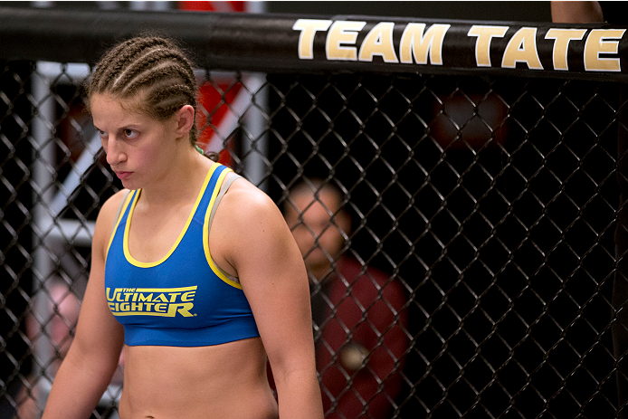 LAS VEGAS, NV - JUNE 21:  Sarah Moras stands in her corner before her preliminary fight against Margaret Morgan (not pictured) during filming of season eighteen of The Ultimate Fighter on June 21, 2013 in Las Vegas, Nevada. (Photo by Josh Hedges/Zuffa LLC/Zuffa LLC via Getty Images) *** Local Caption *** Sarah Moras