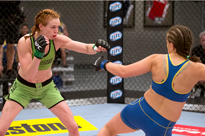 LAS VEGAS, NV - JUNE 21:  (L-R) Margaret Morgan looks to strike Sarah Moras in their preliminary fight during filming of season eighteen of The Ultimate Fighter on June 21, 2013 in Las Vegas, Nevada. (Photo by Josh Hedges/Zuffa LLC/Zuffa LLC via Getty Images) *** Local Caption *** Sarah Moras; Margaret Morgan