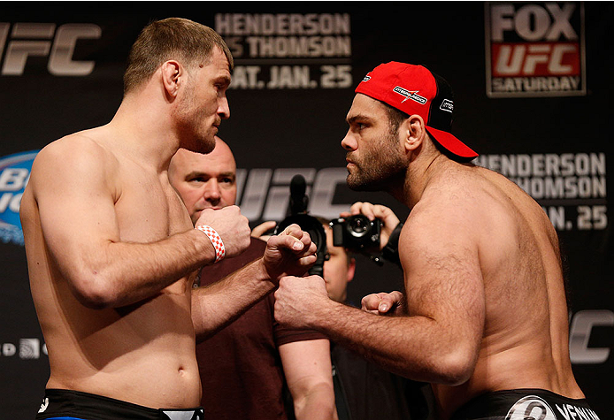 CHICAGO, IL - JANUARY 24:  (L-R) Opponents Stipe Miocic and Gabriel Gonzaga face off during the UFC weigh-in event at the Chicago Theatre on January 24, 2014 in Chicago, Illinois. (Photo by Josh Hedges/Zuffa LLC/Zuffa LLC via Getty Images)