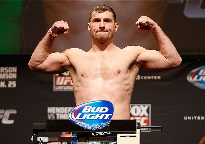 CHICAGO, IL - JANUARY 24:  Stipe Miocic weighs in during the UFC weigh-in event at the Chicago Theatre on January 24, 2014 in Chicago, Illinois. (Photo by Josh Hedges/Zuffa LLC/Zuffa LLC via Getty Images)