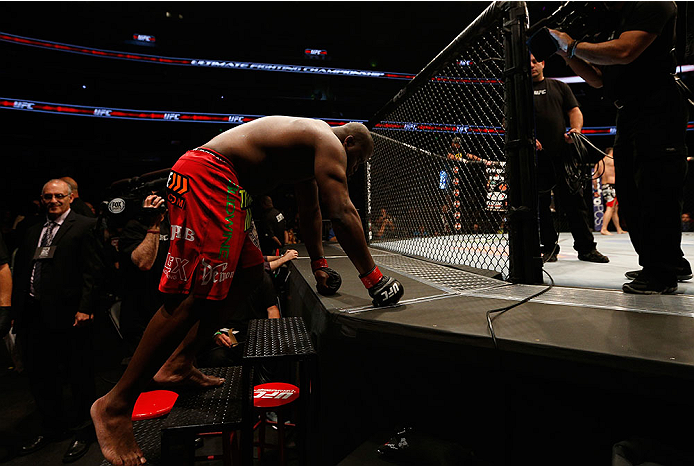 ORLANDO, FL - APRIL 19:  Derrick Lewis enters the Octagon before his heavyweight bout against Jack May during the FOX UFC Saturday event at the Amway Center on April 19, 2014 in Orlando, Florida. (Photo by Josh Hedges/Zuffa LLC/Zuffa LLC via Getty Images)