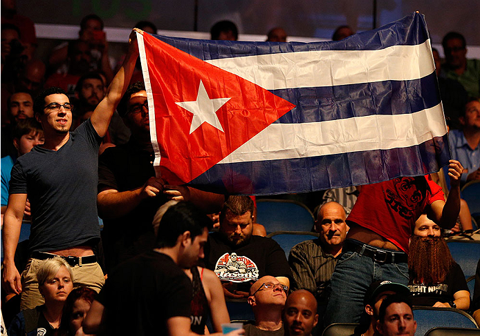 ORLANDO, FL - APRIL 19:  Fans display a Cuban flag in support of Jorge Masvidal during the FOX UFC Saturday event at the Amway Center on April 19, 2014 in Orlando, Florida. (Photo by Josh Hedges/Zuffa LLC/Zuffa LLC via Getty Images)