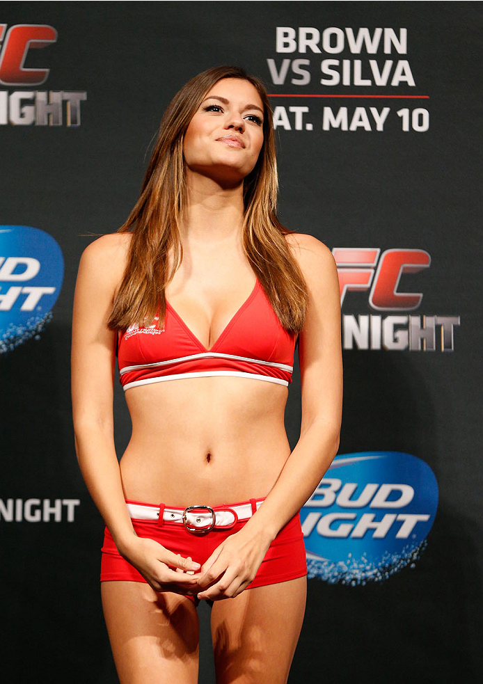 CINCINNATI, OH - MAY 09:  UFC Octagon Girl Vanessa Hanson stands on stage during the UFC weigh-in at the U.S. Bank Arena on May 9, 2014 in Cincinnati, Ohio. (Photo by Josh Hedges/Zuffa LLC/Zuffa LLC via Getty Images)
