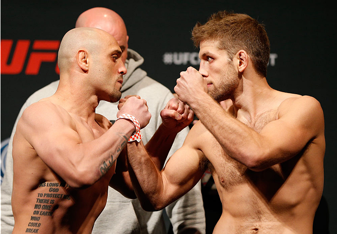 CINCINNATI, OH - MAY 09:  (L-R) Opponents Manny Gamburyan and Nik Lentz face off during the UFC weigh-in at the U.S. Bank Arena on May 9, 2014 in Cincinnati, Ohio. (Photo by Josh Hedges/Zuffa LLC/Zuffa LLC via Getty Images)