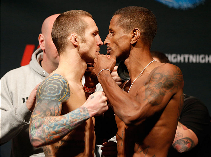 CINCINNATI, OH - MAY 09:  (L-R) Opponents Eddie Wineland and Johnny Eduardo face off during the UFC weigh-in at the U.S. Bank Arena on May 9, 2014 in Cincinnati, Ohio. (Photo by Josh Hedges/Zuffa LLC/Zuffa LLC via Getty Images)