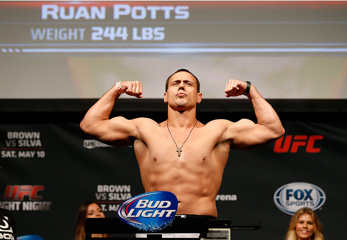 CINCINNATI, OH - MAY 09:  Ruan Potts weighs in during the UFC weigh-in at the U.S. Bank Arena on May 9, 2014 in Cincinnati, Ohio. (Photo by Josh Hedges/Zuffa LLC/Zuffa LLC via Getty Images)