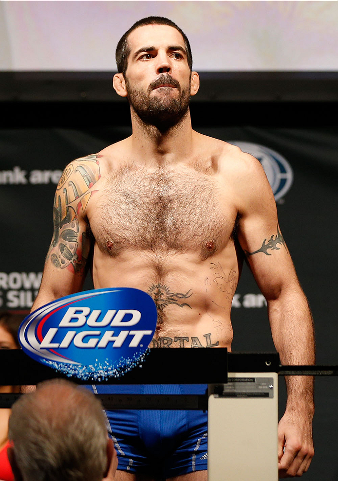 CINCINNATI, OH - MAY 09:  Matt Brown weighs in during the UFC weigh-in at the U.S. Bank Arena on May 9, 2014 in Cincinnati, Ohio. (Photo by Josh Hedges/Zuffa LLC/Zuffa LLC via Getty Images)