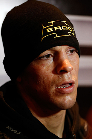SEATTLE, WA - DECEMBER 05:  Nate Diaz interacts with media during the UFC on FOX open workouts on December 5, 2012  at the Grand Hyatt Seattle in Seattle, Washington.  (Photo by Josh Hedges/Zuffa LLC/Zuffa LLC via Getty Images)