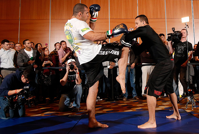 "SEATTLE, WA - DECEMBER 05:  Mauricio ""Shogun"" Rua works out for fans and media during the UFC on FOX open workouts on December 5, 2012  at the Grand Hyatt Seattle in Seattle, Washington.  (Photo by Josh Hedges/Zuffa LLC/Zuffa LLC via Getty Images)"