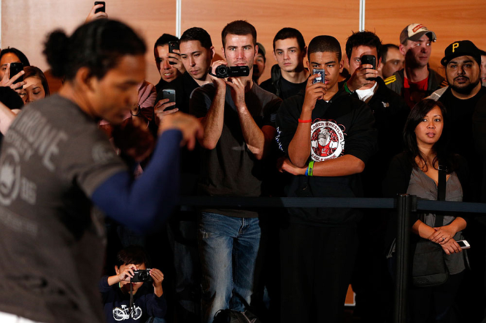 SEATTLE, WA - DECEMBER 05:  Fans look on as Benson Henderson conducts a training session during the UFC on FOX open workouts on December 5, 2012  at the Grand Hyatt Seattle in Seattle, Washington.  (Photo by Josh Hedges/Zuffa LLC/Zuffa LLC via Getty Images)
