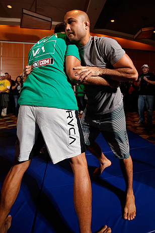 SEATTLE, WA - DECEMBER 05:  BJ Penn works out for fans and media during the UFC on FOX open workouts on December 5, 2012  at the Grand Hyatt Seattle in Seattle, Washington.  (Photo by Josh Hedges/Zuffa LLC/Zuffa LLC via Getty Images)