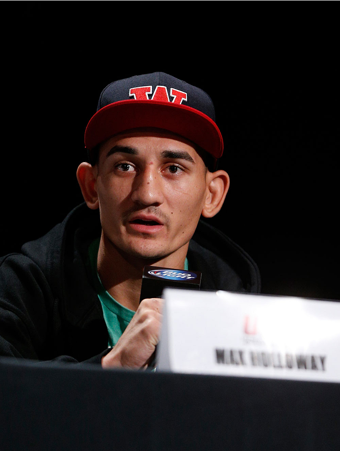 BOSTON, MA - AUGUST 15:  Max Holloway during a UFC press conference at the Wang Theatre on August 15, 2013 in Boston, Massachusetts. (Photo by Josh Hedges/Zuffa LLC/Zuffa LLC via Getty Images)