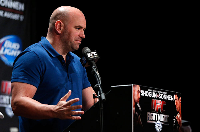 BOSTON, MA - AUGUST 15:  UFC President Dana White interacts with media during a UFC press conference at the Wang Theatre on August 15, 2013 in Boston, Massachusetts. (Photo by Josh Hedges/Zuffa LLC/Zuffa LLC via Getty Images)