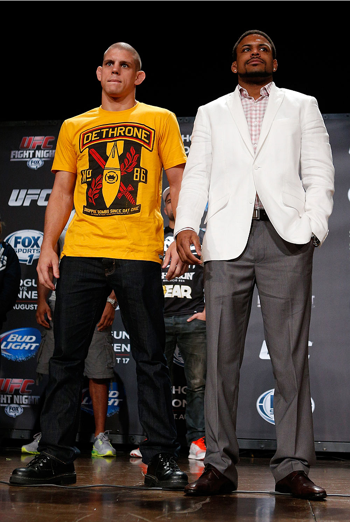 BOSTON, MA - AUGUST 15:  (L-R) Opponents Joe Lauzon and Michael Johnson pose for photos during a UFC press conference at the Wang Theatre on August 15, 2013 in Boston, Massachusetts. (Photo by Josh Hedges/Zuffa LLC/Zuffa LLC via Getty Images)